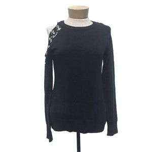 The Limited Jeweled Cold Shoulder Black Sweater S